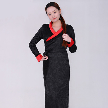 Traditioal Chinese dress Mongolian Tibetan gown National style costume Women elegant Long Dress Minority robe Garment