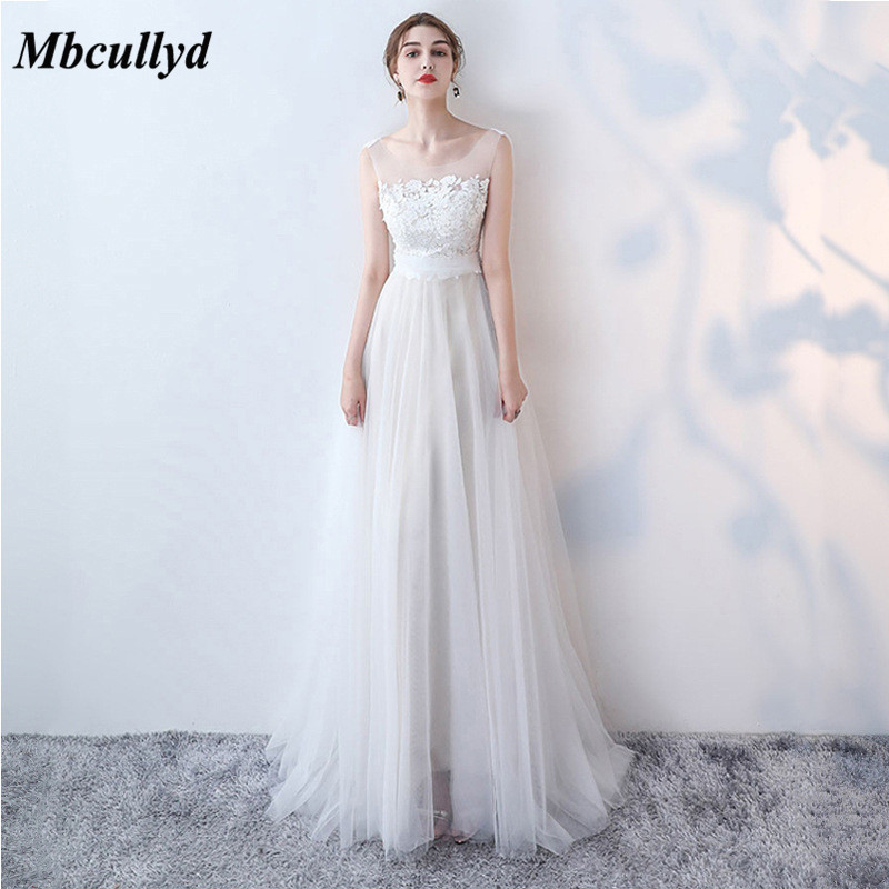 Mbcullyd Elegant Bridesmaid Dresses 2019 Long Tulle Dress A-line Ruffle  Applique Lace Bridesmaid For ca08c506ef5f