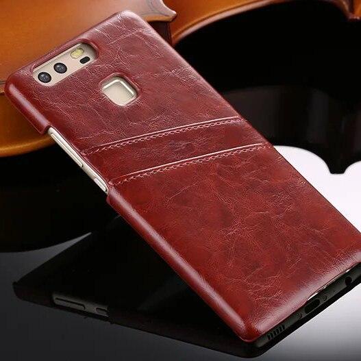 En cuir de luxe case pour huawei p9 p9plus dur carte protecive couverture arrière pour huawei p9 p9 plus téléphone shell