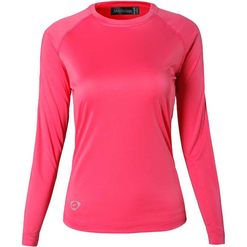 Jeansian damska UPF50 + UV koszulka sportowa na zewnątrz koszulka Tshirt z długim rękawem plaża lato SWT246 czerwony
