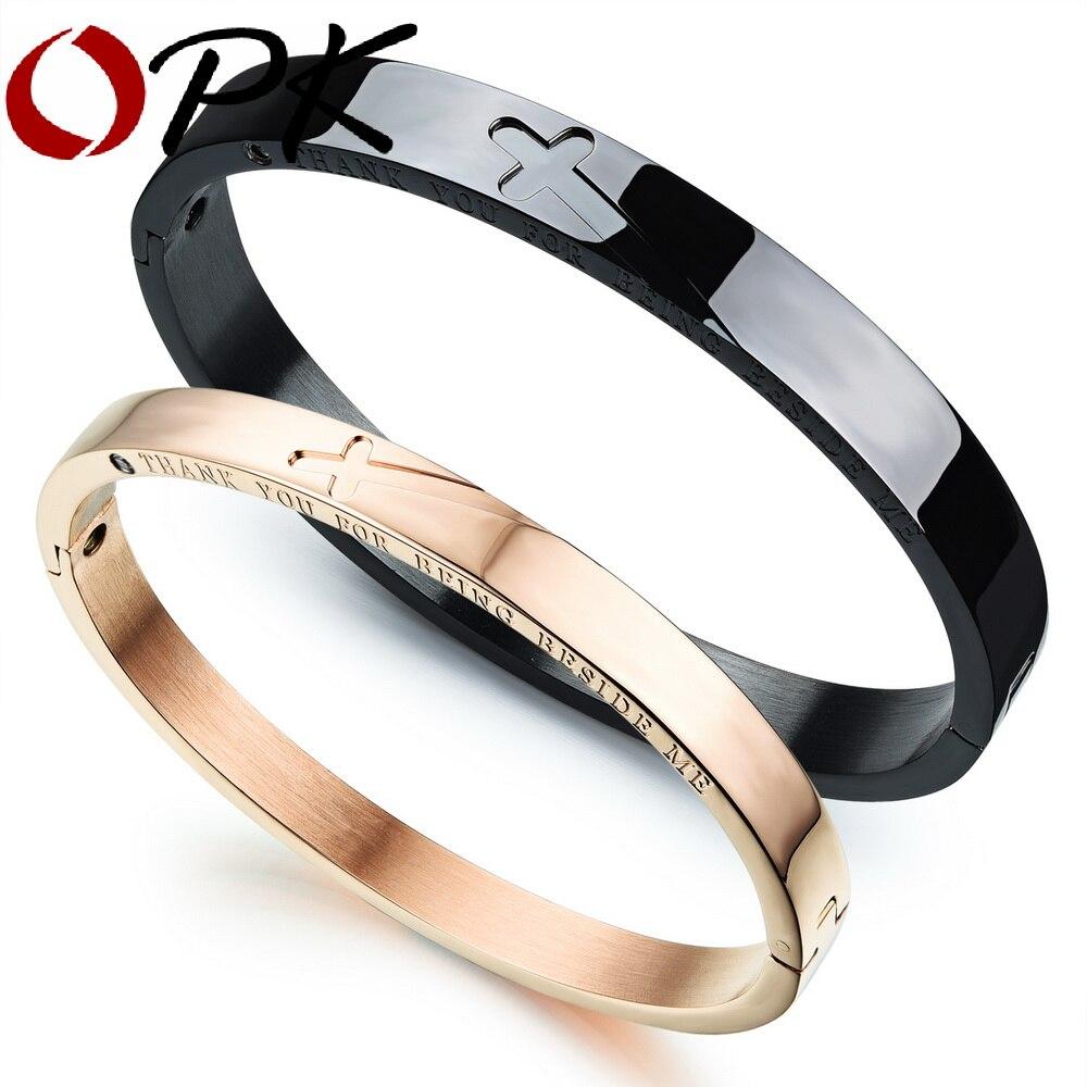 OPK 316L acier inoxydable bracelets amoureux classique croix Puzzle noir/or Rose couleur femmes hommes bijoux Bracelet cadeau GH772