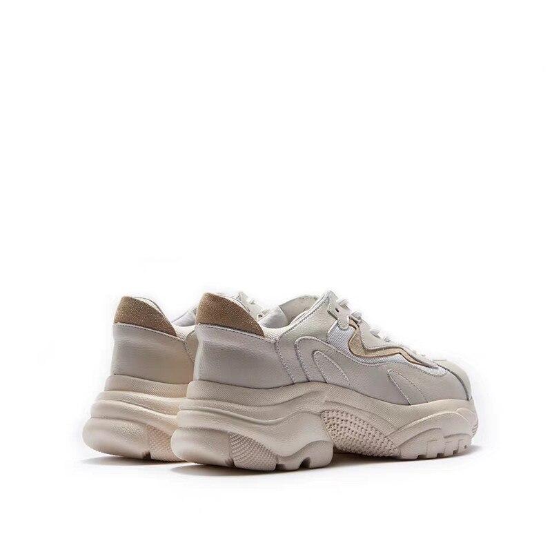 Deporte Cuero Papá La Plataformas Zapatillas Delivr Zapatos De Las Genuino Apricot Moda Plataforma Vulcanizados Mujeres Mujer O84xC4wqU
