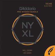 D'Addario NYXL1046 Nickel Wound Electric Guitar Strings, Regular Light & Pro-Winder Bundle rotosound r9 strings nickel super light