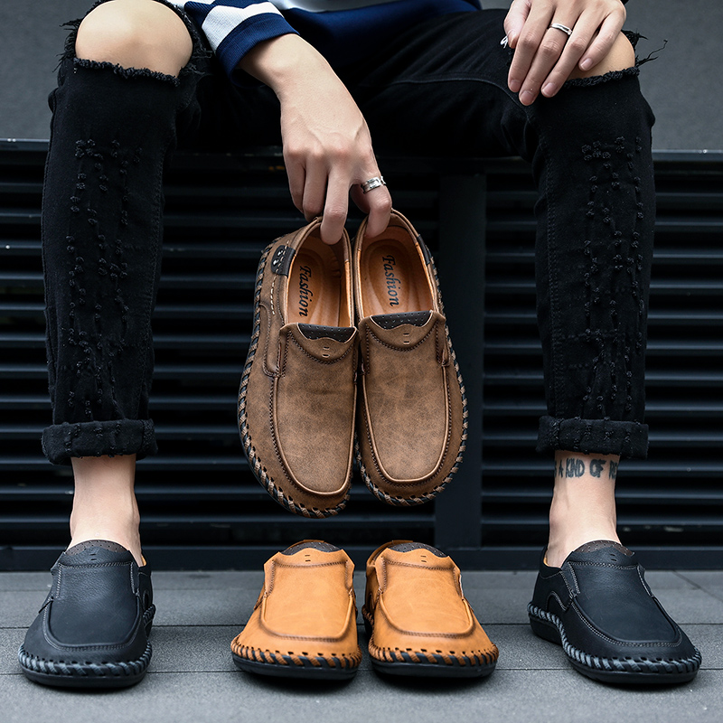 Fashion Casual shoes Men's Leather shoes genuine leather loafers men Comfortable summer men shoes luxury brand men moccasins(China)