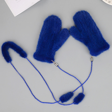 MIARA.L wholesale mink fur gloves and hand knitting warm winter hang rope