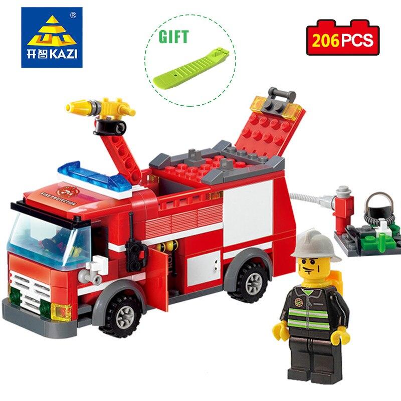 KAZI City Construction Figures Building Blocks DIY Fire Truck Firefighter Enlighten Bricks Educational Toy Compatible Legos City