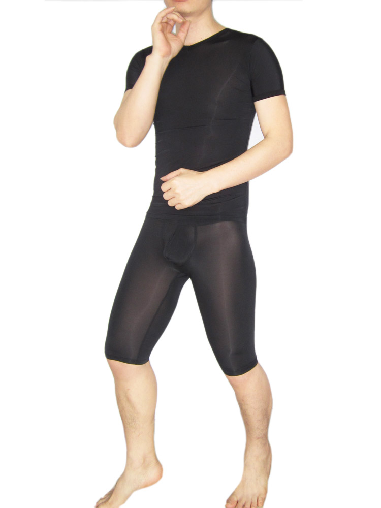 Male Sexy Sleepwear Viscose Short-sleeve Knee-length Panties Transparent Sexy Underwear Twinset 1125