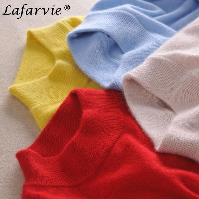 Lafarvie thời trang cashmere pha trộn dệt kim áo len nữ đứng đầu mùa thu đông chui đầu cao cổ nữ dài tay áo màu rắn