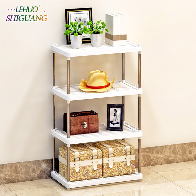 Multifunction Storage Rack Multilayer Plastic Bookshelf Rust Proof Pipe Simple Assembly Fashion Kitchen Furniture