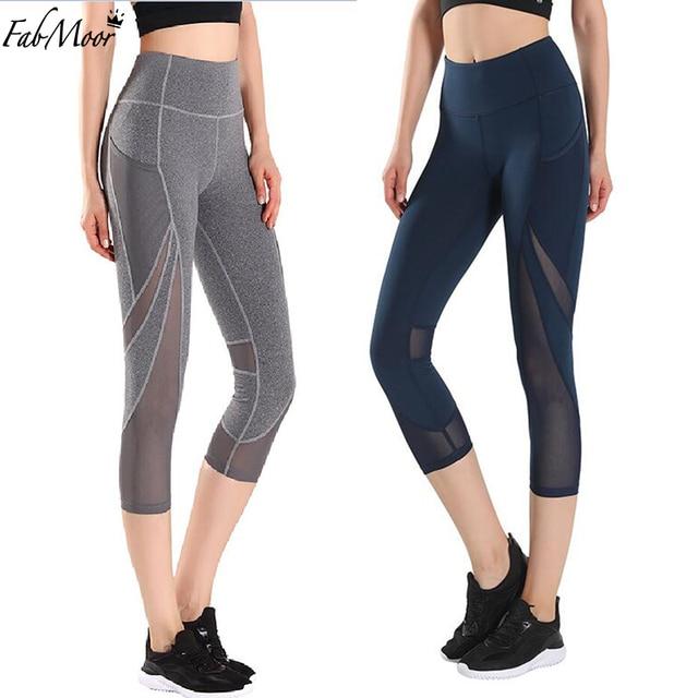 7fc33f77f6 Womens Yoga Leggings capri Sports Tight Mesh Squat Yoga pants High  waistband Mesh insert Women Running Tights Workout capri