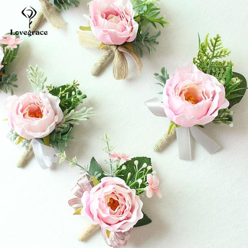 white Pink roses wedding  wrist corsage bracelet bridesmaid Boutonniere flowers (70)