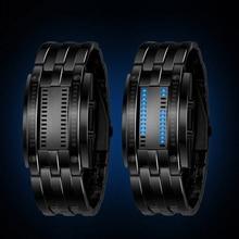 2016 NOUVEAU Deluxe De Luxe LED Électronique Bleu Binaire led Displayer Sport Lumineux Montres Hommes Femmes Montres-bracelets En Acier Inoxydable