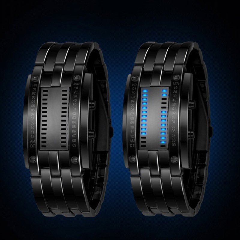 Binary Wristwatches Luxury Lovers' LED Electronic Blue Display Luminous Watch Sports Deluxe Men Stainless Steel Fashion Watches