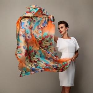 Image 1 - 2016 Winter Fashion Womens Scarf Hot Sale Mulberry Silk Scarves Shawl Female Long Silk Scarf Blue and Coffee 180*110cm