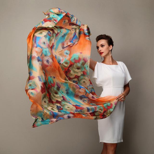2016 moda inverno das mulheres Scarf Hot Sale Mulberry Silk cachecóis xaile feminino longo lenço de seda azul e café 180 * 110 cm