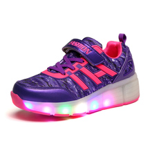 2016 Children LED shoes Shoes Roller Sneaker With One Wheel LED Flashing Kids Boy Girl Light Up Shoes Zapatillas Con Ruedas
