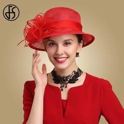 FS Royal Lady Fascinator Red Hat Wedding Sinamay Church Hats Flowers Womens Elegant Wide Brim Fedora Kentucky Derby Party Hat