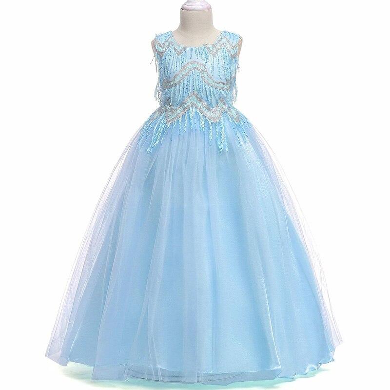 Retail High Quality Beading Princess Evening Party Prom Gown Long Dress Elegant Tassel Fancy Flower Girls Dress Big Bow LP-206
