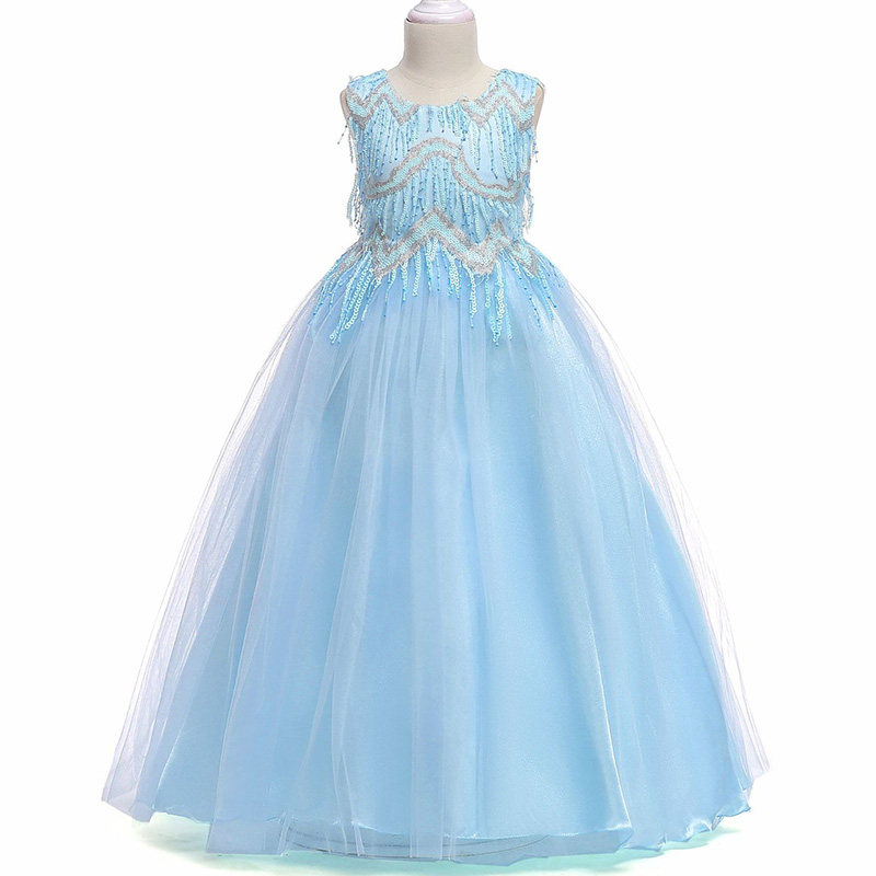 Retail High Quality Beading Princess Evening Party Prom Gown Long   Dress   Elegant Tassel Fancy   Flower     Girls     Dress   Big Bow LP-206