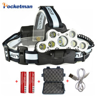 Super 45000LM 9LED Led Headlamp USB Headlight head flashlight torch XM L T6 head lamp rechargeable for 18650 battery
