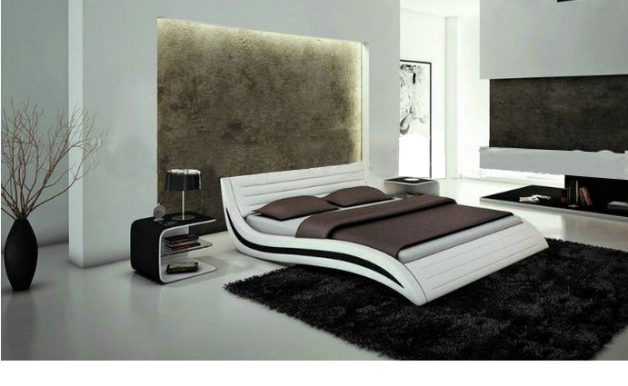 Design:  MYBESTFURN Italy Design Leather Bed, Soft headrest Home Bed Furniture 2013 new B03 - Martin's & Co