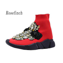 Rhinestone Casual Platform Shoes Fashion Crystal Sneakers Women Red Lady Knitted Sock Boots WK108