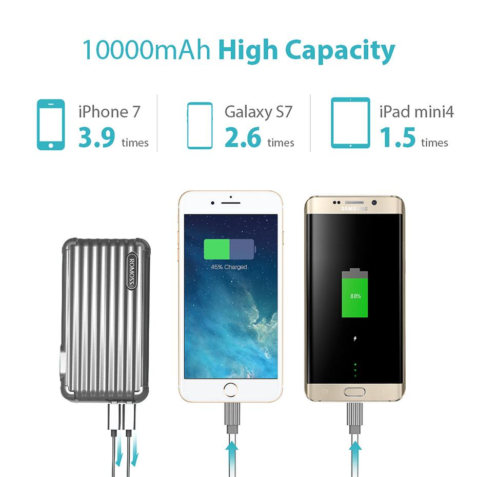 10000mAh 2-in-1 Power Bank and Wall Charger ROMOSS UP10 Dual Port USB Portable Charger 6