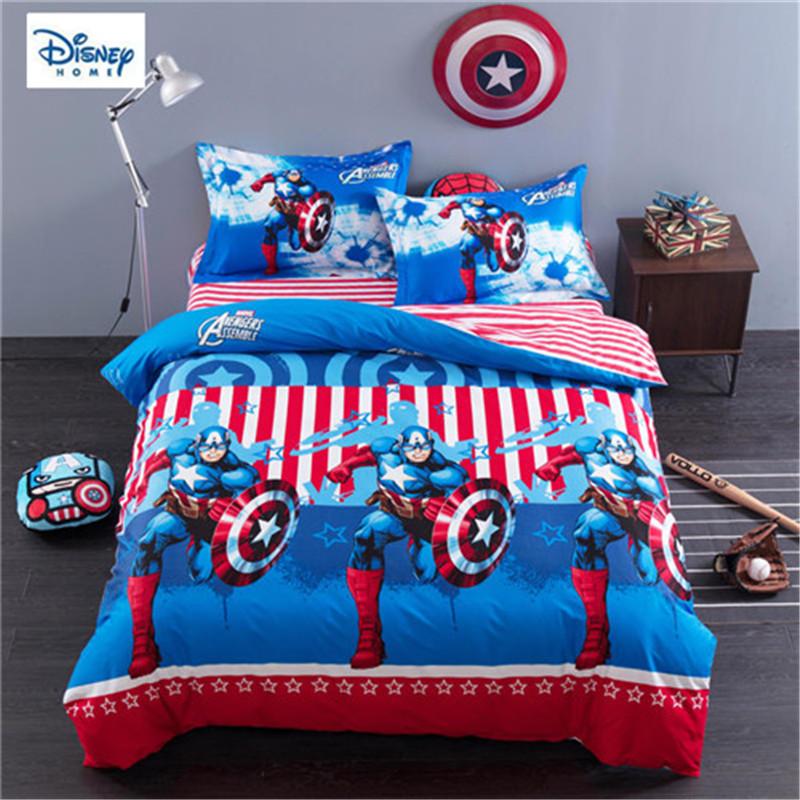 Us 70 99 29 Off Disney Marvel Comforter Bed Set Queen Size 3d Bed Linens 100 Cotton Kids Room Decor Twin Full Single Size Bedroom Decor 3 4 Pcs In
