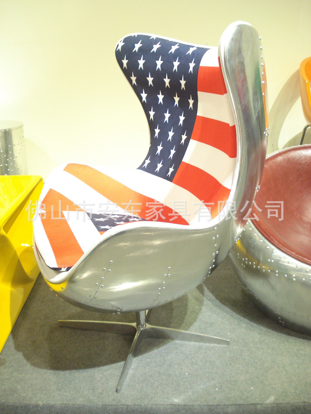 Latest Onlineshop Loft Aluminium Leder Lounge Sofa Stuhl Egg Chair Ei  Kreative Mode Union Jack Stars And Stripes Computer Rotating Chair  Aliexpress Mobil ...