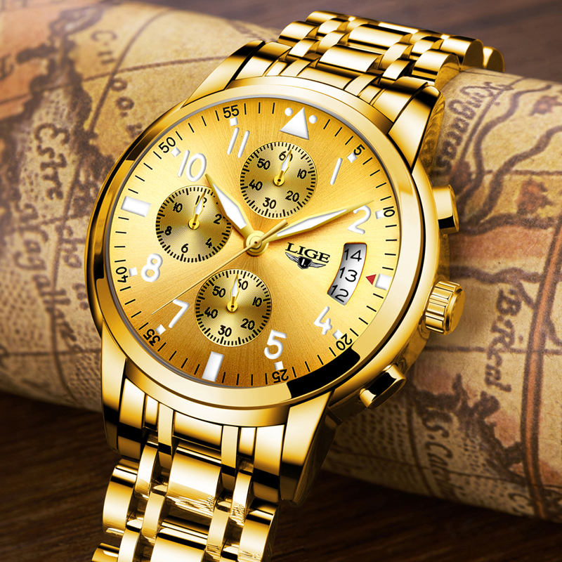 LIGE Mens Watches Top Brand Luxury Fashion Business Quartz Watch Men Sport Full Steel Waterproof Gold Clock relogio masculino lige fashion mens watches top brand luxury full steel waterproof gold blue sport quartz clock wrist watch relogio masculino
