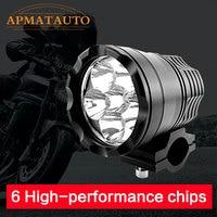 1X 90W Wite 6000K 7800LM 6PCS Whith CREE Chips LED Motorcycle Headlight Fog Spot HeadLamp Spotlight
