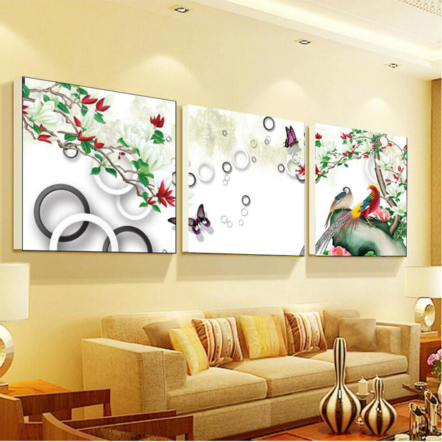 3 pieces canvas wall art canvas painting Animal Flower landscape ...