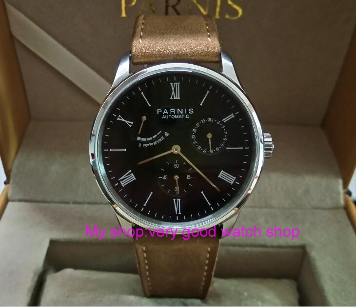 PARNIS 40mm black dial Automatic Self-Wind movement power reserve men's watch Auto Date Mechanical watches wholesale 327a 40mm parnis black dial sapphire glass asian automatic self wind mechanical movement men s watch mechanical watches g56