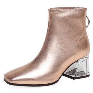 Image 2 - FEDONAS Autumn Winter Fashion Genuine Leather Women Ankle Boots Back Zipper High Heels Party Night Club Shoes Woman Short Boots