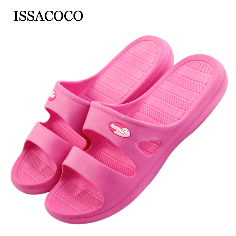 ICCACOCO Women's Summer Solid Color Non-slip EVA Slippers Beach Indoor Slippers Home Flip Flops Hot Sale Women Slippers coolsa women s candy color indoor massage slippers lightweight solid eva home non slip massage slippers beach slippers flip flop