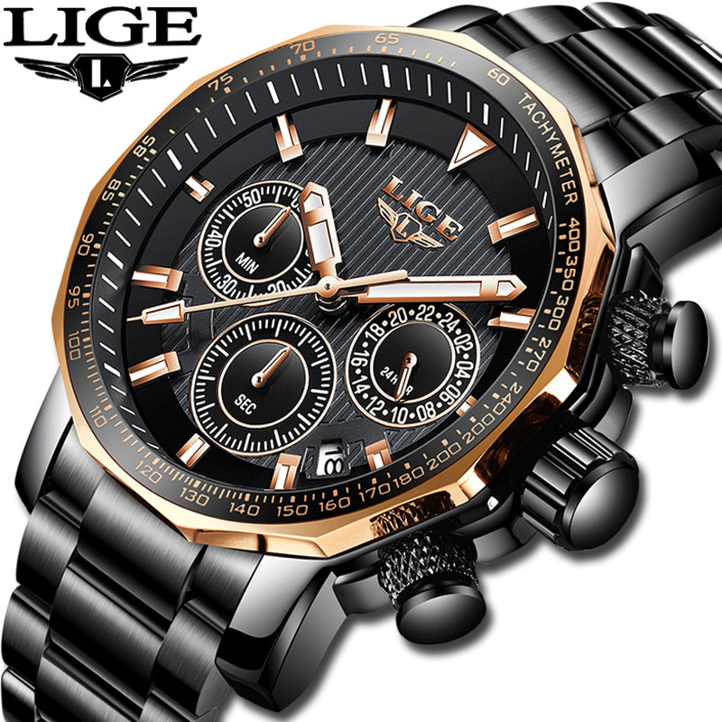 LIGE Men Watch Luxury Business Waterproof Military Watches Mens All Steel Gold Quartz Chronograph Top Brand Relogio Masculino  LIGE Men Watch Luxury Business Waterproof Military Watches Mens All Steel Gold Quartz Chronograph Top Brand Relogio Masculino
