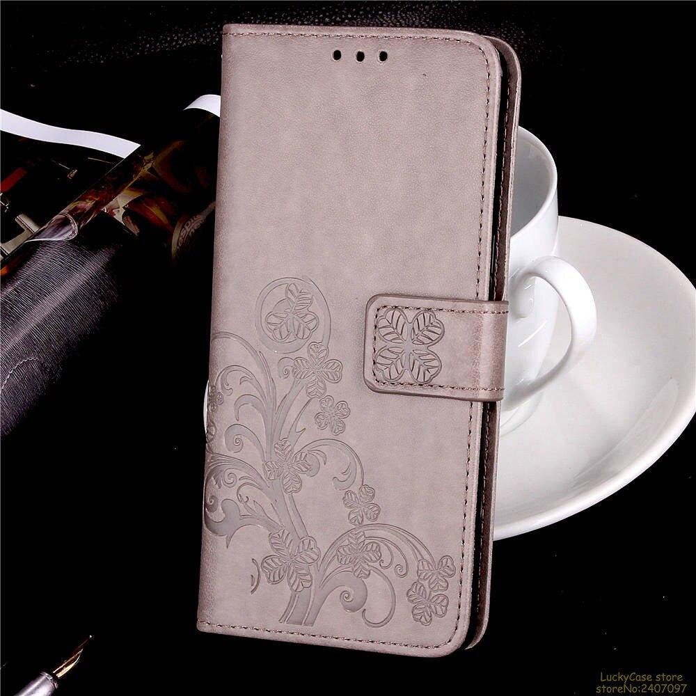 Lucky Clover phone case For Motorola G6 PLUS Embossing Flower Leather flip Retro Wallet With Card Slot For Motorola G6 PLUS