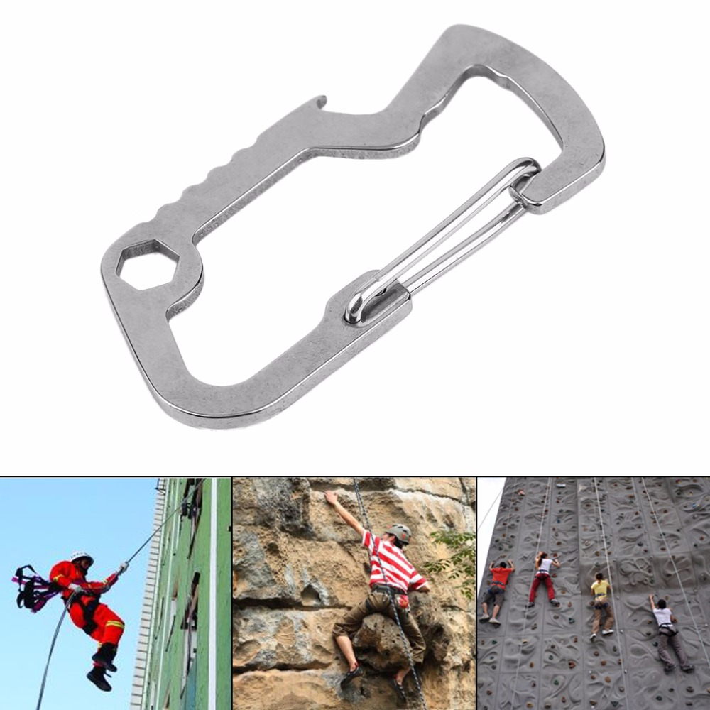 Camping Hiking Gear Stainless steel Mini Carabiner As For Wrench Keychain Opener Backpack buckle free shipping