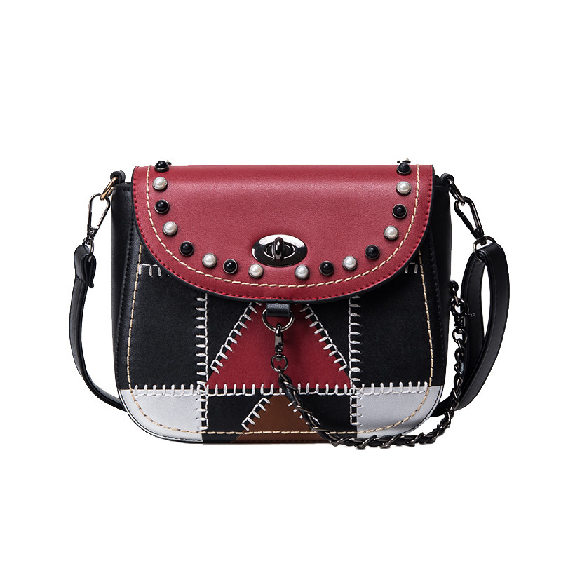 ФОТО Personality Women chain Saddle Bags Famous Brands New Geometric Stitching Retro Fashion Shoulder Bags for Women bag