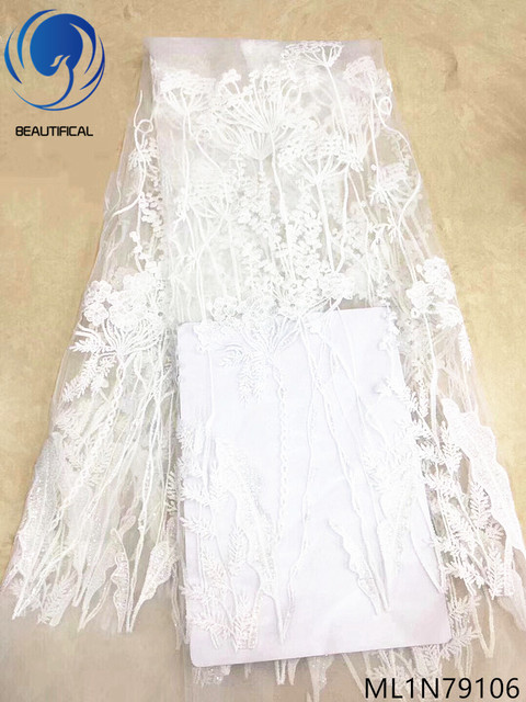 Beautifical lace fabric white net lace fabric wholesale guangzhou lace fabric high quality 5 yards/lot nigerian fabrics ML1N791