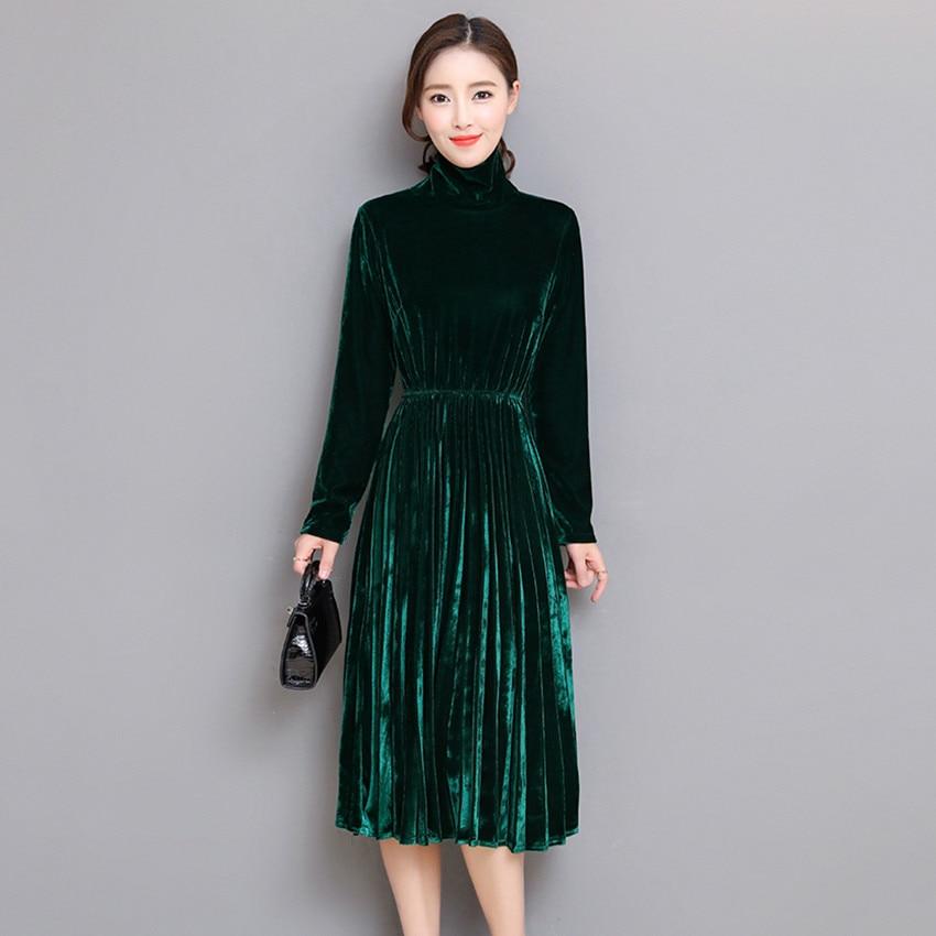 59f855d06bb0e 5XL Women Green Black Velvet Dress Winter Turtleneck Dress Long Sleeve  Vintage Pleated Dresses Plus Size Women Clothing Vestidos
