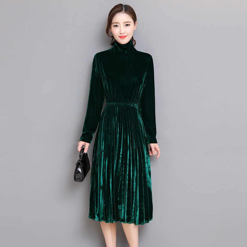 306b47eaf11 ... 5XL Women Green Black Velvet Dress Winter Turtleneck Dress Long Sleeve  Vintage Pleated Dresses Plus Size ...