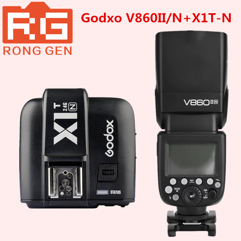 Godox Speedlite V860IIN GN60 HSS 1/8000 s вспышка TTL + Godox X1T-C Беспроводная Вспышка Триггера Передатчик для Nikon