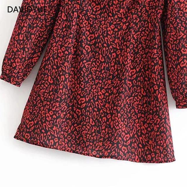 vintage red Leopard dress women long sleeve dress Korean fashion christmas dress elegant Women mini Sexy dress Vestidos