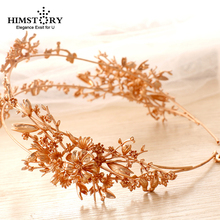 HIMSTORY Luxury Gold Flower Bridal Tiaras Handmade Wedding Hair Accessories Two Rows Headpiece Prom Hairbands Headbands
