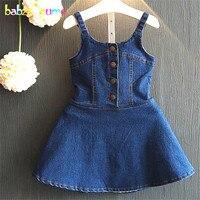 2016 מותגים חדשים קיץ ילדי שמלת אפוד בגדי ילדים בגדים פעוט תלבושות אופנה שמלות בנות ג 'ינס 0-7Year BC1116