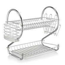 2 layer  Chrome Kitchen Dish Cup Drying Rack Drainer Dryer Tray Cutlery Holder Organizer