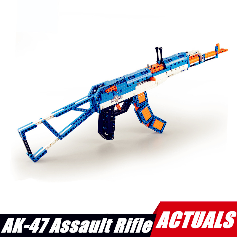 498pcs Diy Building Blocks Military Toy Gun The AK 47 Rifle Model Compatible with L Brand