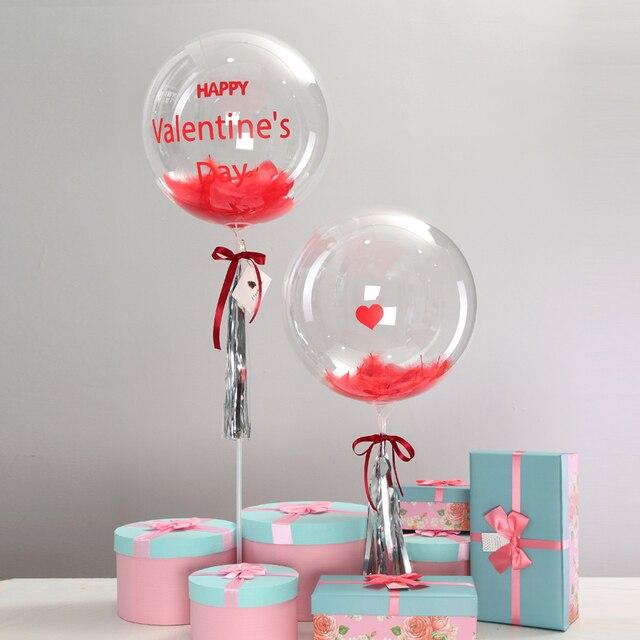 45137cd1b0 Día de San Valentín tema vinilo pegatina globo transparente con plumas  ganso borla tarjetas escribir tu amor DIY regalo para ella
