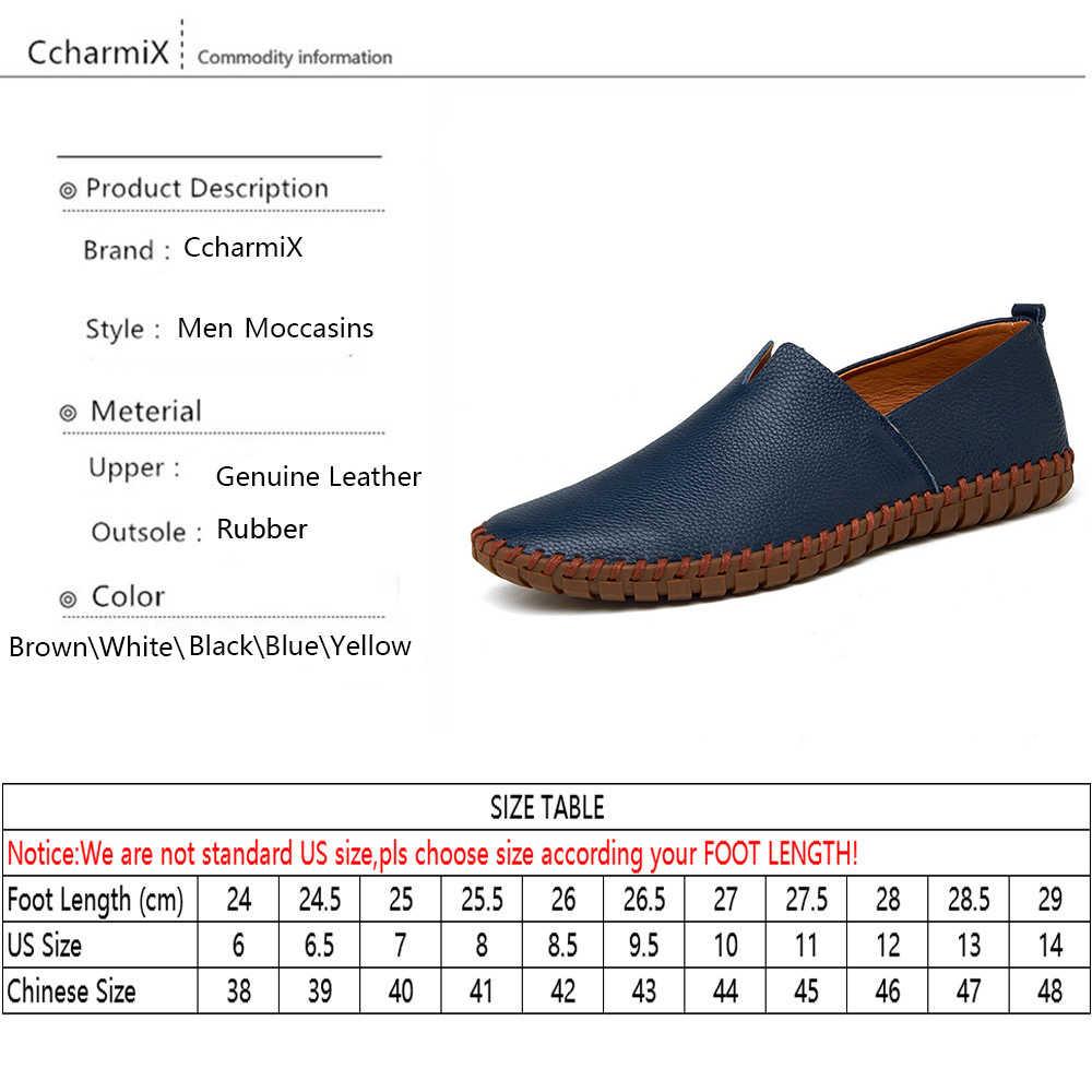 Мужские лоферы из натуральной бычьей кожи CcharmiX, модные мокасины ручной работы, Синие слипоны из мягкой кожи, мужские водонепроницаемые Мокасины размера плюс 38 ~ 47